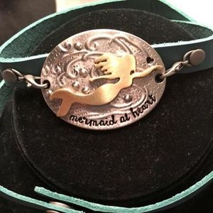Jewelry - mermaid metal and leather wrap bracelet